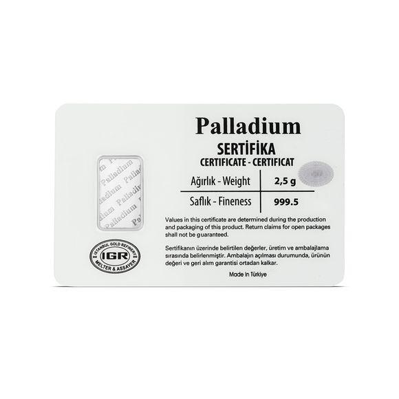 2,5 gr. Paladyum