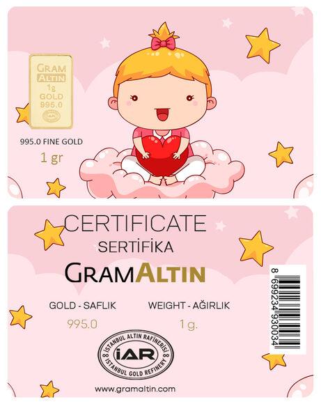 Kız Bebek 1 gr 24 Ayar Kişiye Özel Altın