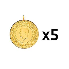 7 - Çeyrek Altın Darphane 5 adet paket ( 2021 )