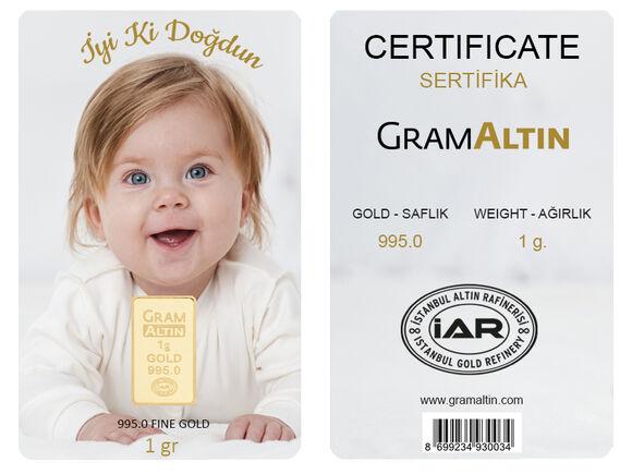 Doğum Günü 1 gr 24 Ayar Kişiye Özel Altın