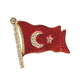 Rozet - İAR Türk Bayraklı Altın Rozet (Küçük)
