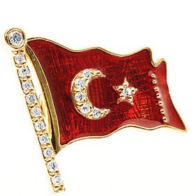 Pırlanta Rozet - İAR Türk Bayraklı Pırlanta Rozet