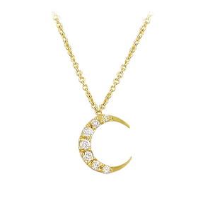 Pırlanta Kolye - Özel Tasarım 18 Ayar Sarı Altın 0,05 Karat Ay Pırlanta