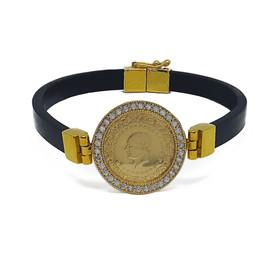 Bileklik - Taşlı çerçeveli altın bağlantı ve kilitli çeyrek altınlı bileklik