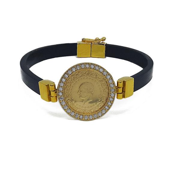 Taşlı çerçeveli altın bağlantı ve kilitli çeyrek altınlı bileklik