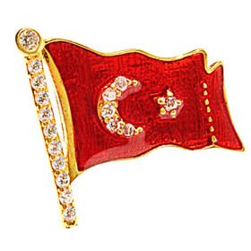 Rozet - İAR Türk Bayraklı Gümüş Rozet