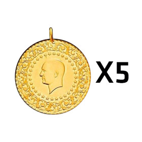 Eski Tarihli Darphane Yarım Altın - Yarım Altın Darphane 5 adet paket ( Eski tarihli )